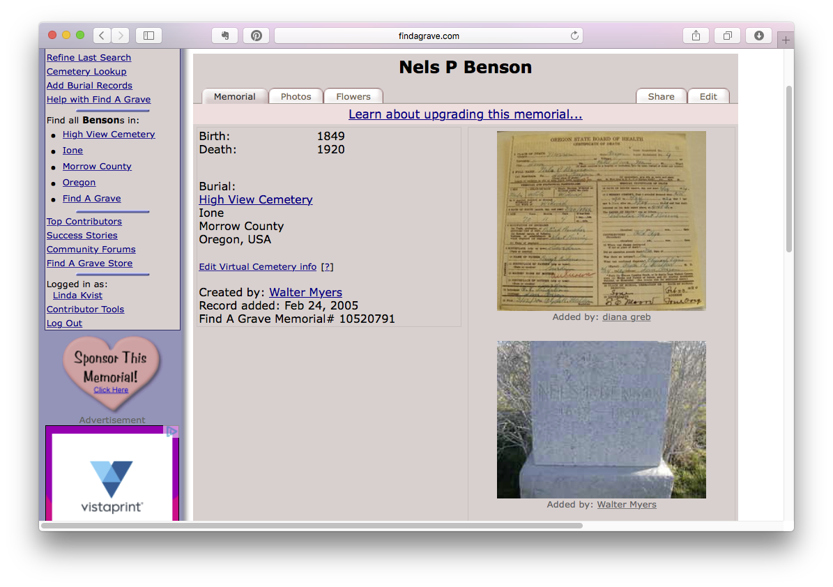 Screen dump of Nels P Benson memorial page on Find A Grave