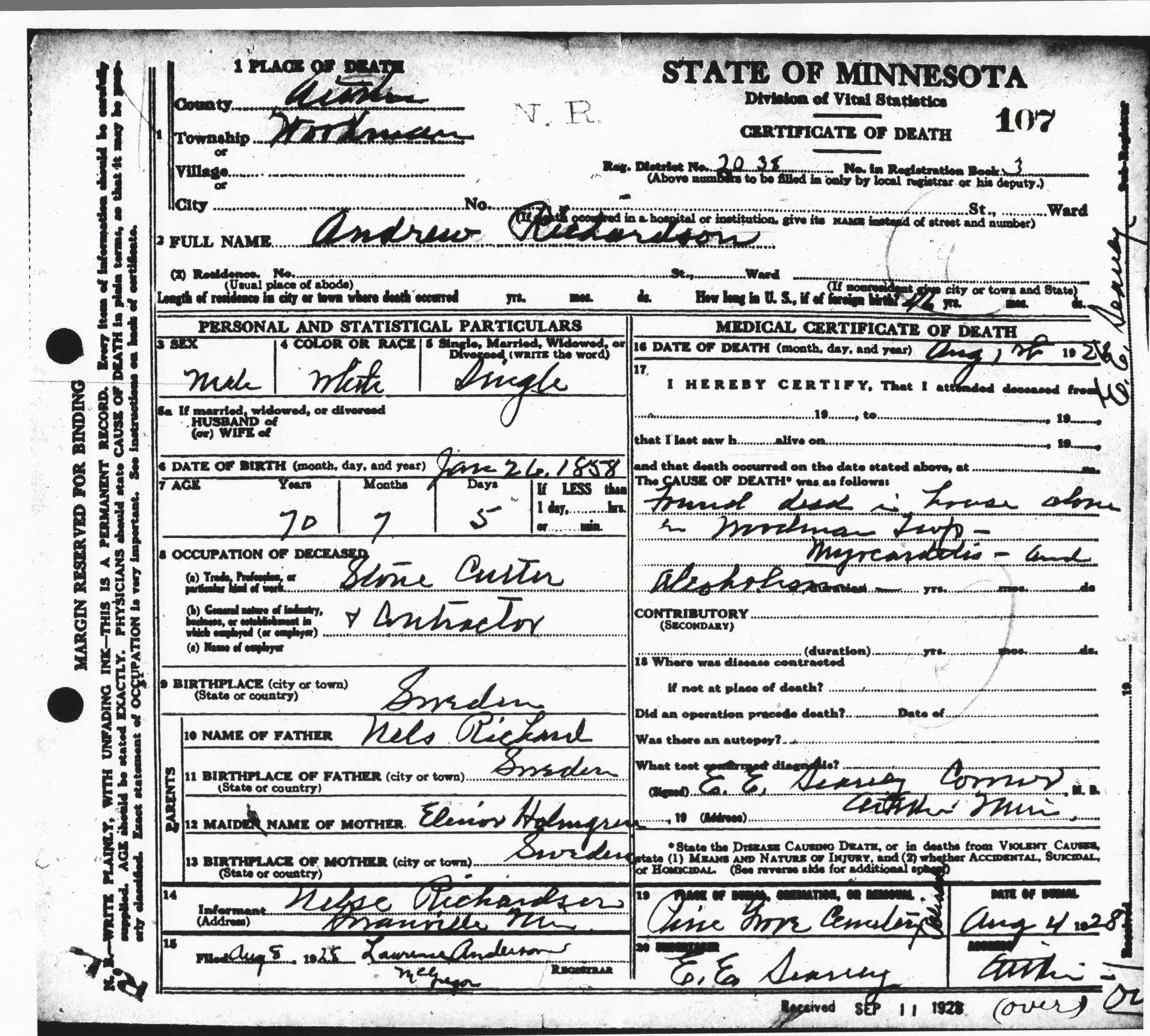 1251 Anders Rickard Nilsson Holmer Andrew Richardson Death certificate